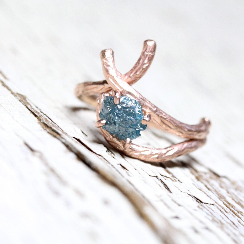 Rough Blue Diamond Branch Engagement Ring 14k Rose Gold Pink