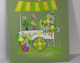 Vintage 1980's Retro Green Yellow Pink Flower Garden Cart Butterfly Painting