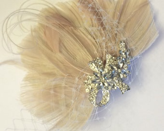 Ivory and Blush Peacock Jeweled Bridal Peacock Feather Wedding Hair Fascinator Clip with Netting