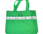 Music Tote Bag with Monogram Name Embroidered on it, Personalized Bag, Swin Bag, Daycare Bag, Toy Bag, Easter Basket Bag