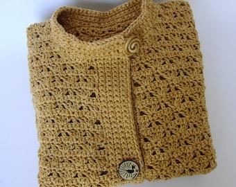Cotton Cardigan, Crochet Cardigan, Summer Cardigan, Yellow Women's Cardigan, Artisan Golden Yellow Studio Jacket, S/M