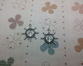 20pcs 24x27mm Rudder With Anchor Antique Silver Retro Pendant Charm For Jewelry Pendant
