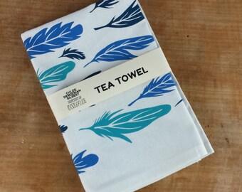 Organic Cotton/Hemp Feather Pattern Tea Towel