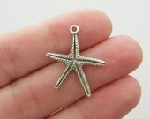 10 Starfish charms  antique silver tone SF35