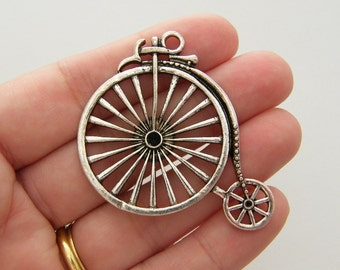 2 Penny farthing bicycle antique silver tone TT14