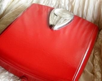 Recycled Retro Red Bathroom Scale/ Bathroom Decor / Gym Decor