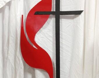 Methodist Cross and Flame, Methodist, Cross, Wall, Hanging, UMC, Garden, Stake, Logo,  Christian, Metal, Methodist, Celtic, Memorial, symbol