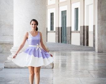 Lilac & Ivory Short Formal Dress Asymmetrical One Shoulder, 50s Style Bridesmaid Dress Natural Waist Pleated Skirt, Retro Wedding Dress