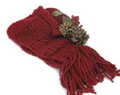 Red Knit Scarf, Hand Knit Scarf, Winter Scarf, Women Scarf, Fashion Scarf, Knit Scarf, Gift Ideas, Cranberry Scarf, Fiber Art,