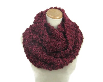 Knit Infinity Scarf, Circle Scarf, Hand Knit Scarf,  Cowl, Burgundy/Wine Scarf, Gift Idea For Her, Fashion Accessory, Bulky Scarf