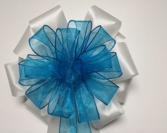 Wedding Pew Bows Sparkle Glitter Turquoise Blue Sheer Ribbon over White Acetate Satin Hand Tied