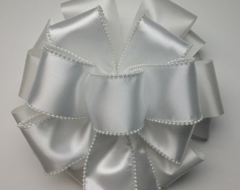 Wedding Pew Bows White Pearl Edged Satin Wired Ribbon over White Acetate Satin Ribbon Hand Tied