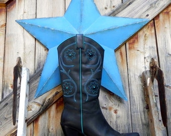 designer, italian, turquoise cowgirl boots, size 9