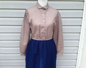 Vintage 70s Secretary Day Dress - Navy and Tan, size Large