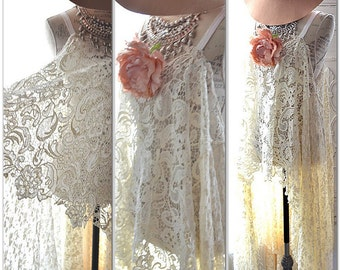 Lg Spring Bridal chic tunic, Barn Wedding Magnolia lace Pearl tunic, Romantic Bridal clothing, shabby cottage chic, True Rebel clothing