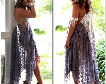 Gypsy Tunic Dress, Wanderlust, Bohemian Magnolia lace Pearl, Boho dresses Stevie Nicks Style, Festival clothing, True Rebel clothing Plus SZ