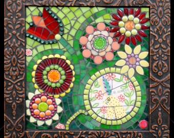El Conejo en Las Flores by Brenda Pokorny Mosaic Wall Hanging Rabbit in the Flower Garden