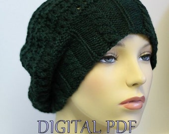 KNIT PDF Digital Pattern - Meshaline Mesh Boho Cable Hat