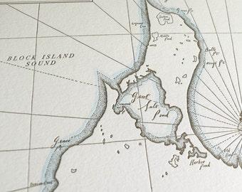 Block Island, Rhode Island Letterpress Map Print (Warm Grey)