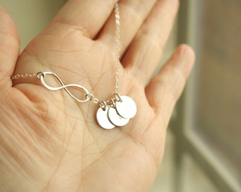 Delicate Infinity with Customized initial Three Disc Necklace All Sterling Silver or All Gold Filled , everyday Jewelry, perfect gifts
