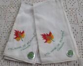 Vintage Handkerchiefs St. Anne de Beaupre Souvenirs 2 Pc.