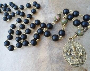 Ganesh  Mala Necklace  Mala Beads  Ganesha Necklace  Ganesh Pendant  Unakite  Black Ebony Mala  Yoga Necklace Yoga Jewelry  Meditation Hindu