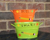 Personalized Teacher gift - Sharp and Dull pencil holders with Teacher name, pencil and polka dots - 2 piece set