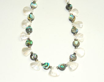 Abalone Necklace with Pearls - Mother of Pearl - Beach Jewelry - Natural Shell - Blue - Green - White - Santa Barbara