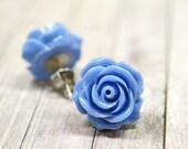 Twilight Earrings, Denim Blue Rose Earrings, Flower Stud Earrings, Periwinkle Blue Earrings, Blue Colored Jewelry, Retro Jewelry, The Rosie