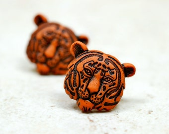 Tiger Earrings, Neutral Brown and Black Tiger Head Studs, Big Cats Animal Jewelry
