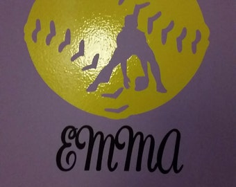 Softball Vinyl Wall Decal with Name