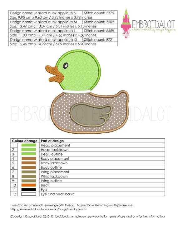 Mallard duck applique embroidery design cute