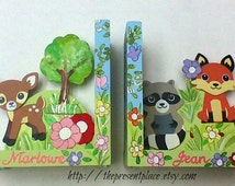 Hand painted personalized wooden bookends with forest creatures, flowers and butterflies