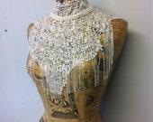 White beaded lace fringe collar neclace steam punk burlesque