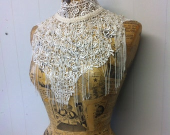 White beaded lace fringe collar neclace steam punk burlesque