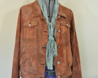 Autumn Brown XL Cotton JACKET - Gold Brown Dyed Upcycled Paul & Joe Trucker Jacket - Adult Womens Size Extra Large (46 chest)