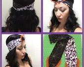 Halloween Bandana Head Wrap Skulls and Spider Webs Purple Black Orange Lace
