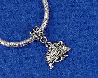 Hedgehog European Dangle Bead Charm - Silver Hedgehog or Porcupine Charm for European Bracelet