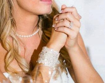 Wedding Bridal Bracelet Cuff with Ribbon Closure