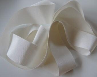"Off white light ivory Rayon Petersham Grosgrain Ribbon Wedding Gown Sash 2"" 50 mm"