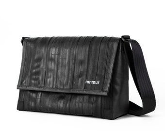 "15"" Black Messenger Bag // Handmade from recycled bike tube"