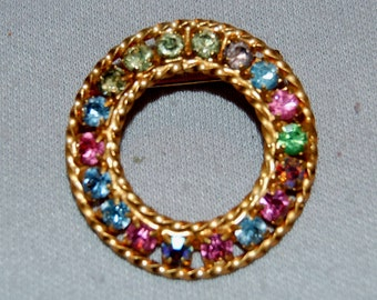 Vintage / Brooch / Rhinestone / Circle / Multicolor / Old /  jewellery / jewelry