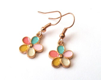 Flower Earrings in Rose Gold, Drop Earrings, Multicolour, Daisy Earrings, Gold Earrings, Choose Rose Gold Plated or Rose Gold Filled Wires