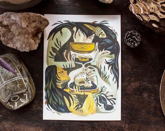 The Witches - Macbeth - original gouache painting