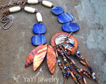 Phoenix Flight Necklace, Tribal Necklace, Lapis, Knotted Necklace, Earthy Boho Chic Jewelry by YaY Jewelry