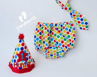 Circus Party Hat, Diaper Cover, Necktie for Cake Smash or First Birthday in Lolli Dot - ORIGINAL Design by StacyBayless Baby - Boys