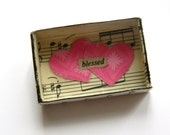 Matchbox Art, Hearts, Original Collaged Mini Wall Hanging