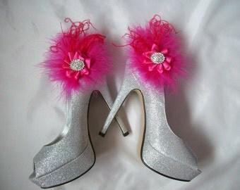 Cerise Hot Pink Satin Ruffle & Diamante Glamorous Wedding Shoe Clips Clip Prom Races- Custom Made to Order