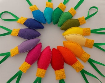 15 Merry Christmas Lights - Felt Ornament Set