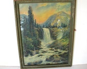Vintage Waterfall Landscape Print 1920s Original Framing